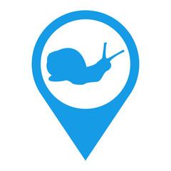 Icono plano localizacion caracol azul