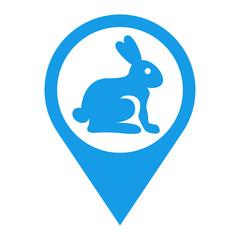 Icono plano localizacion conejo azul