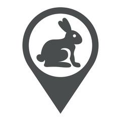 Icono plano localizacion conejo gris
