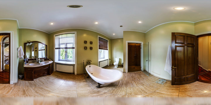 Home interior in panoramic 360 degree view