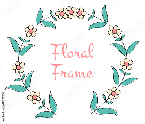 Romantic Floral Frame Circle Vector Isolated Illustration With Round Background
