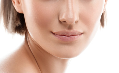 Beauty Woman face lips nose. Beautiful model Girl with Perfect Fresh Clean Skin