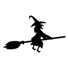 Scary witch flying