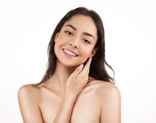 Beauty Woman face Portrait. Beautiful model Girl with Perfect Fresh Clean Skin.