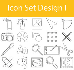 Drawn Doodle Lined Icon Set Design I