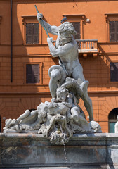 Detail of the Neptune fountain in Piazza Navona, Rome, Italy.