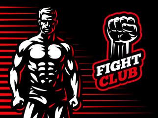Fighter emblem illustration on dark background
