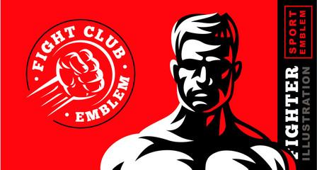 Fighter emblem illustration on red background
