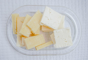 Cheese served in a plate for Turkish breakfast