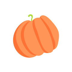 Pumpkin icon in cartoon style isolated on white background vector illustration