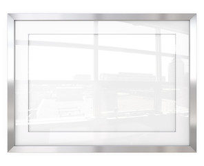 Abstract Steel Frame. 3D render of Metal Frame with white Passe-partout. Urban Reflection on Glass.