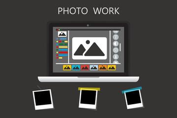 Laptop Icon on gray backgroud with photo frame.Photo work ,Photo business. Journalist photographs illustration