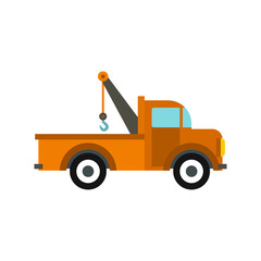 Car tow truck icon in flat style isolated on white background. Transport symbol vector illustration