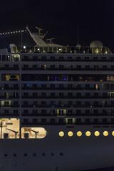 Cruise ship cabins at night