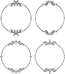 Set of unusual round vintage floral frames for your design. Vect