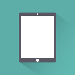 Tablet icon flat style ,isolated on a green background with shadow, stylish vector illustration for web design