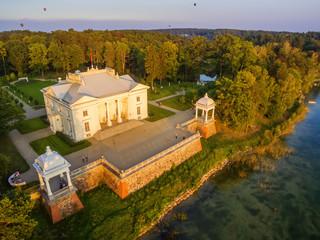 Trakai, Lithuania: Aerial UAV top view of Uzutrakis Palace