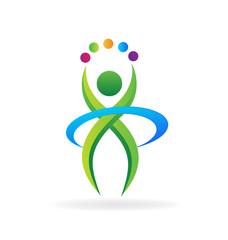 Fitness person logo icon vector