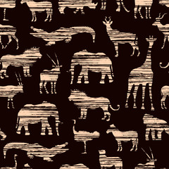Grunge African Pattern With Beige Horizontal Shading Stylized Animals On Brown