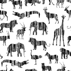 Grunge African Pattern With Vertical Shading Stylized Animals