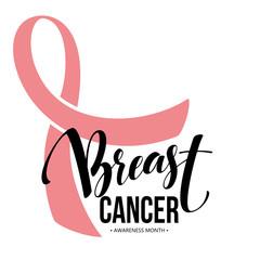 Pink ribbon, breast cancer awareness symbol. Vector illustration