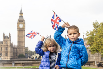Children in London, big ben
