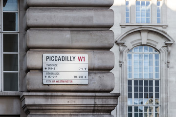 Picadilly street name plates