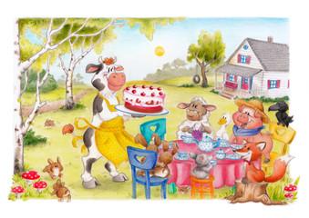 Tiere, Kaffee, Kuchen, Tee, Freunde