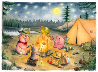 Schweine, Camping, Zelten, Wimmelbild