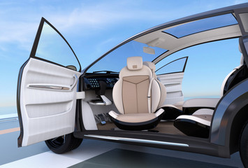 Self-driving SUV interior concept. Front seats can rotate in any angle, for easy entry function. 3D rendering image.