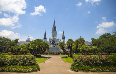 New Orleans Jackson Square, Saint Louis Cathedral and Andrew Jackson Statue, Louisiana, USA