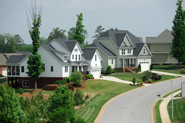 modern townhouses and exterior landscaping in community