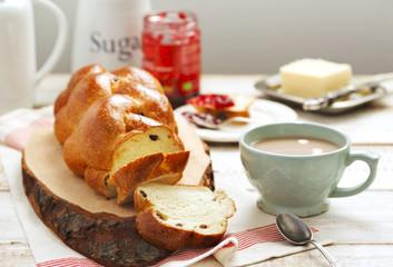 Homemade challah bread with raisin
