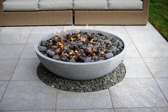 modern patio fire pit