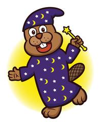 Beaver Wizard with Magic Wand Cartoon Illustration
