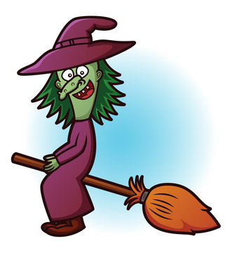 Witch Flying with Broom Cartoon Illustration