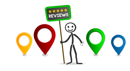 5 stars reviews with draw person and location pin marks