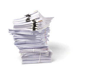 Stack of business papers isolated on white background. Copy space