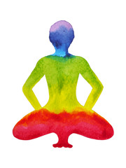 tuck toe wide knee pose, yin yoga, sitting on the feet toes, watercolor painting