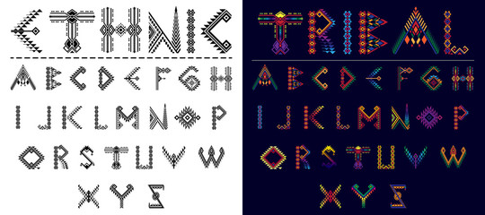 Tribal font ethnic vector alphabet design