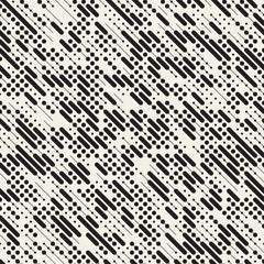 Vector Seamless Black and White Irregular Diagonal Dash Lines Pattern