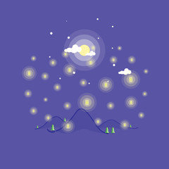 Landscape mountain at the night vector art