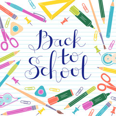 aeb51f28098b Back to school design template. Frame of stationery goods.