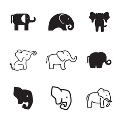 Elephant vector icons.