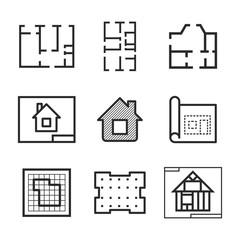 Blueprint vector icons.