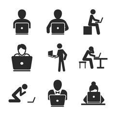 Man with laptop vector icons.