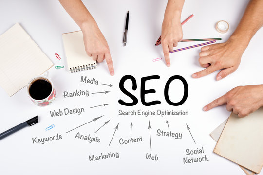 SEO Search Engine Optimization concept. The meeting at the white