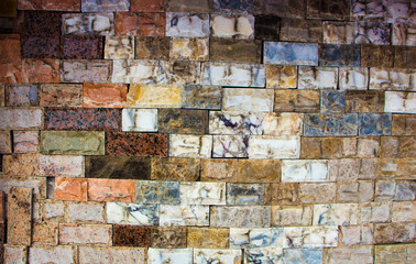 multicolored marble bricks close-up, sample, background