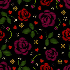 Wall Mural - Embroidery pattern with roses flowers