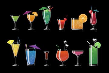 Alcohol drinks and beach cocktails isolated on black background